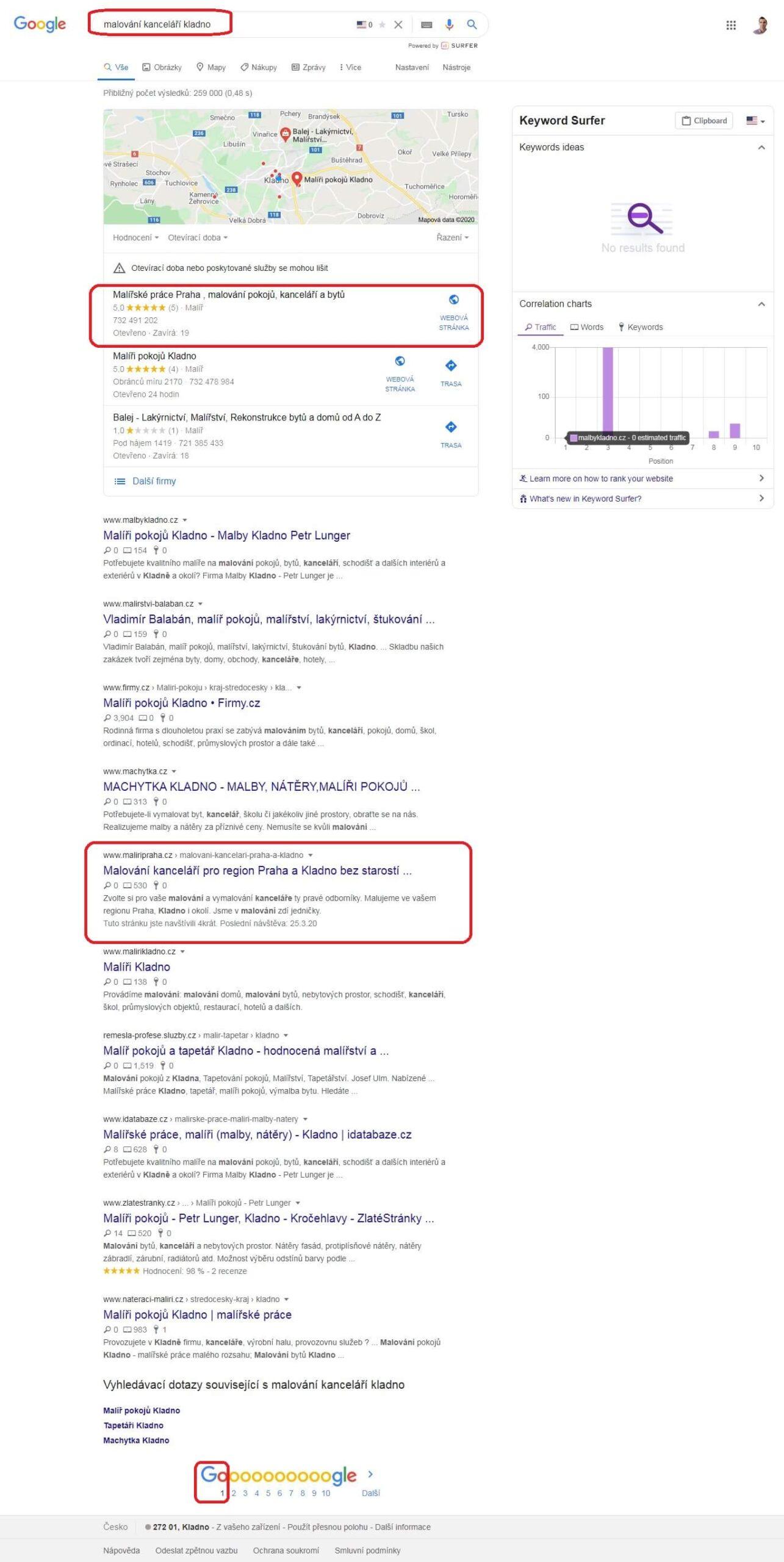 """Výsledky postupné SEO optimalizace na klíčové slovo """"malování kanceláří Kladno"""""""
