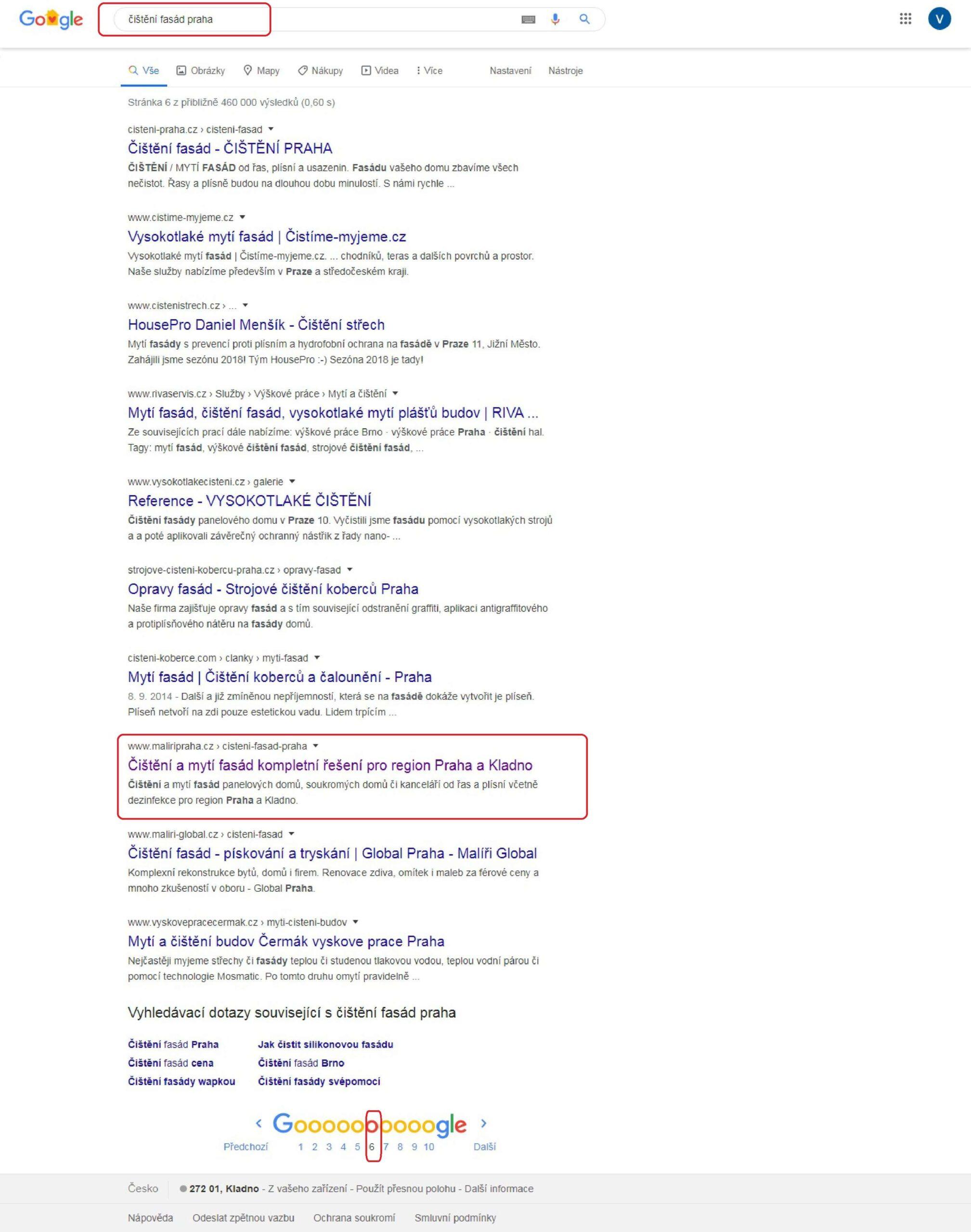 """Výsledek SEO optimalizace pro vyhledávače """"čištění fasád Praha"""""""