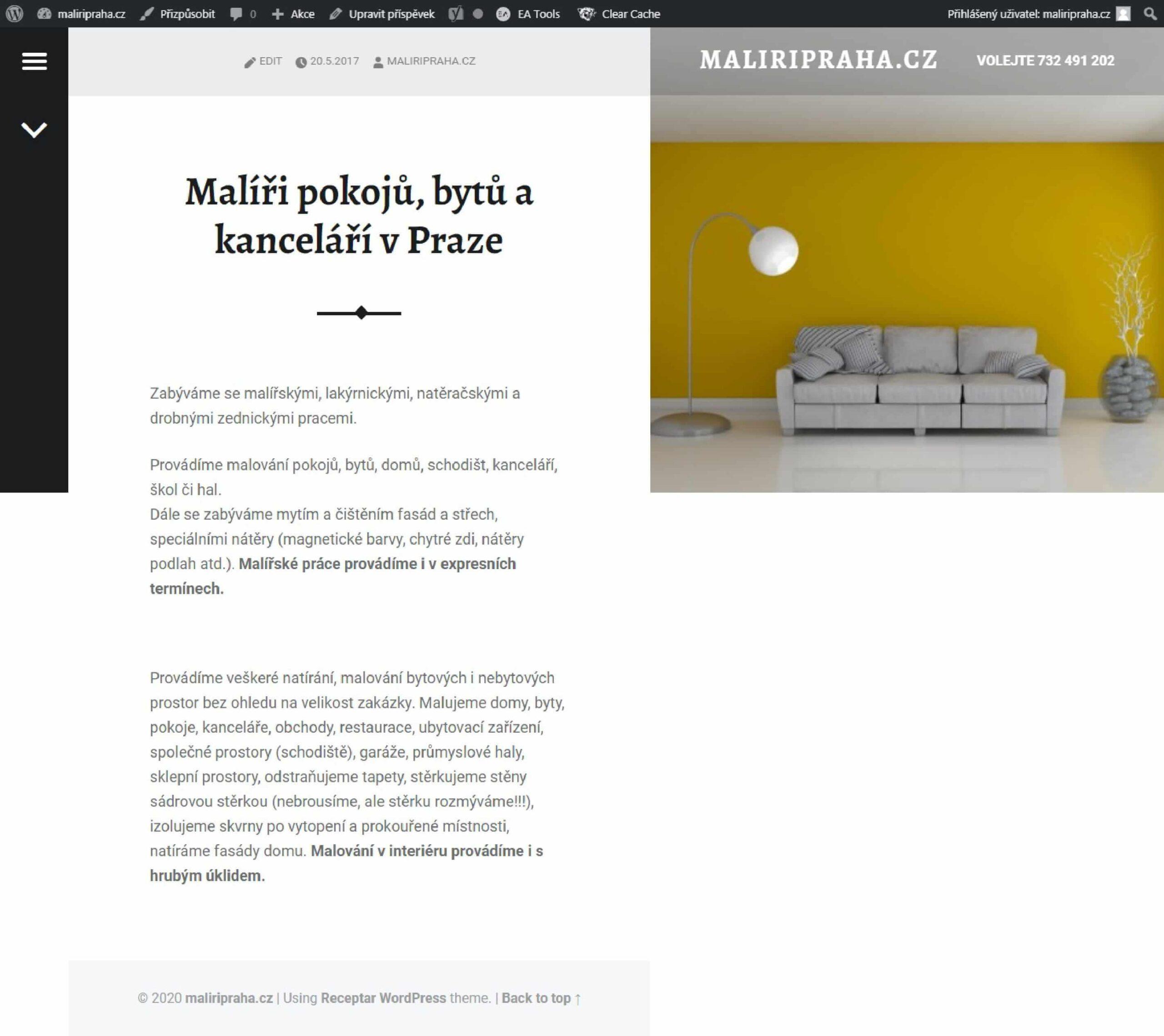 Takto vypadala původní podstránka webu firmy Malířské firmy Petera Korce